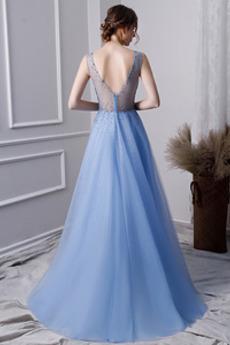 Robe de bal Perle Tulle Corsage Avec Bijoux Sans Manches Col en V
