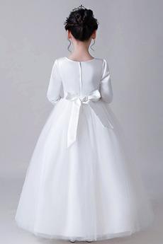 Robe de fille de fleur aligne Col de chemise t Ceinture en Étoffe