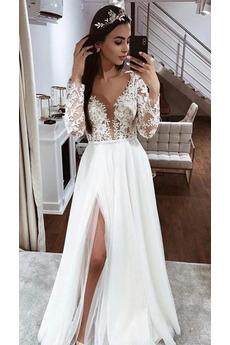 Robe de mariage Manche Longue Manquant Dentelle Printemps Thigh-High Slit