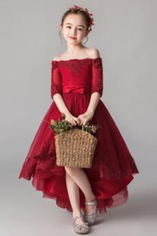 Robe de fille de fleur Vintage Manquant Asymétrique Dentelle