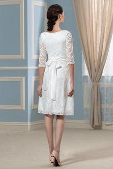 Robe de mariée Manche Aérienne Haute Couvert Taille haute Col rond