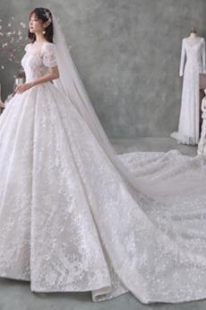 Robe de mariée Tulle Couvert de Dentelle Triangle Inversé Laçage