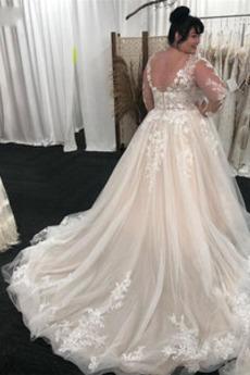 Robe de mariage Manche Longue Plus la taille Longue Automne Cathédrale