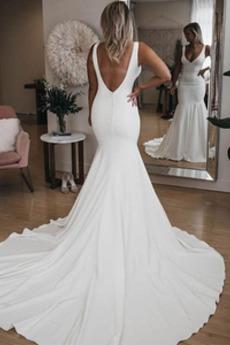 Robe de mariée Sirène Été Dos nu Col en V Petites Tailles De plein air