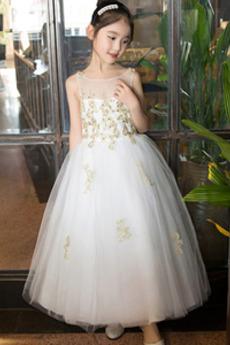 Robe de fille de fleur Glissière Couvert de Dentelle net Printemps