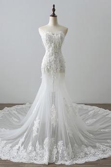 Robe de mariée Tulle Norme Automne Dépouillé Elégant Lacez vers le haut
