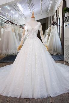 Robe de mariée Manche Longue Appliquer gossamer A-ligne Laçage
