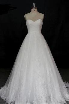 Robe de mariée Dentelle Col en Cœur Vintage Salle a ligne Lacez vers le haut