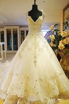 Robe de mariée Norme A-ligne Dentelle Automne Haute Couvert Naturel taille