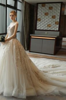Robe de mariée Dentelle Salle des fêtes Col U Profond Printemps