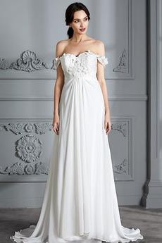 Robe de mariée Taille haute Empire De plein air Luxueux Fourreau pli