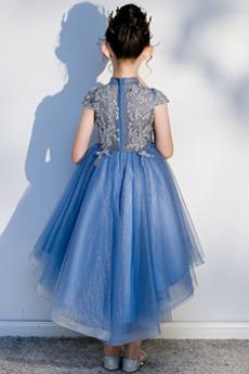 Robe de fille de fleur Tulle Col haut Fourreau Avec Bijoux Manche Courte