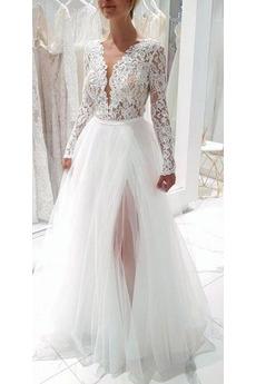 Robe de mariée Tulle Ouverture Frontale Poire A-ligne Longueur de plancher