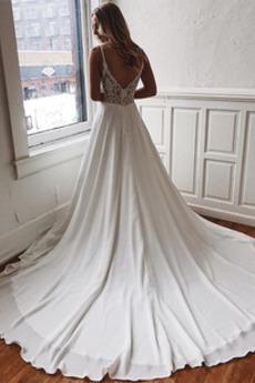Robe de soirée Traîne Moyenne Fête Luxueux Appliquer Col en V