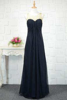 Robe de soirée Noir Sans Manches Mousseline taille haute Fête