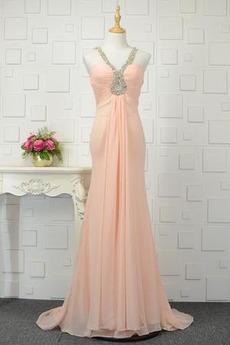 Robe de soirée Larges Bretelles Chiffon Traîne Courte Glamour