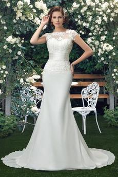 Robe de mariée Printemps Dentelle Naturel taille Fleurs fin Elégant