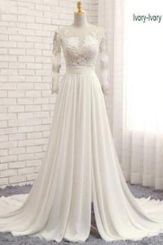 Robe de mariée A-ligne Dentelle Traîne Courte Petit collier circulaire