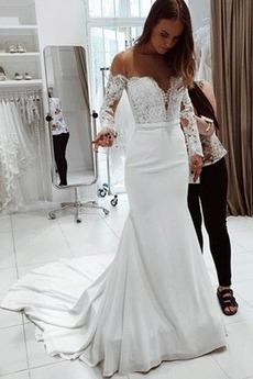 Robe de mariée Dentelle Traîne Courte Naturel taille Manche de T-shirt