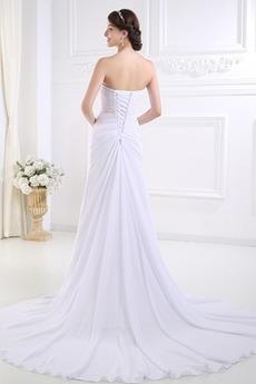 Robe de mariée Dos nu Longue Sans Manches Mousseline Drapé Fourreau pli