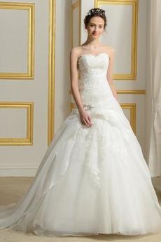 Robe de mariée Sans courroies Été A-ligne Organza Naturel taille