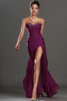 Robe de bal Sans Manches Col en Cœur Taille chute Milieu Glamour