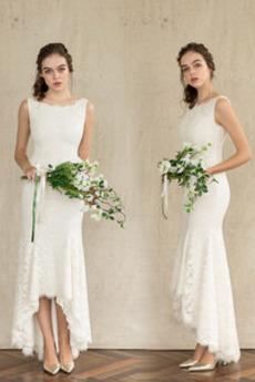 Robe de mariée Asymétrique Médium Couvert de Dentelle Chic Dos nu