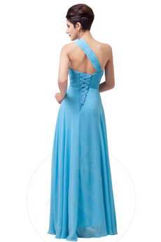 Robe de bal Une épaule Corsage plissé Longueur de plancher noble