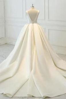 Robe de mariée Drapé Naturel taille Longue Sans Manches Printemps
