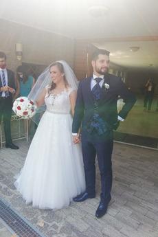 Robe de mariée Tulle Elégant Longue Gaze Perler Grandes Tailles