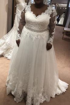 Robe de mariage Satin Grandes Tailles Manche Aérienne Perlé Col en V
