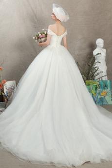 Robe de mariage Manche Courte Fourreau pli Chapelle Naturel taille