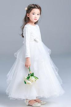 Robe de fille de fleur Cérémonial Petit collier circulaire Couvert de Dentelle