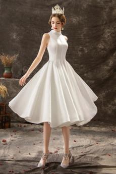 Robe de mariée Elégant Satin Col haut Longueur de genou Plage