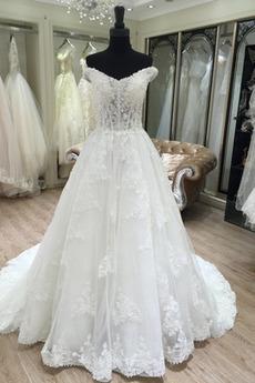 Robe de mariée Traîne Longue Décolleté Dans le Dos Naturel taille