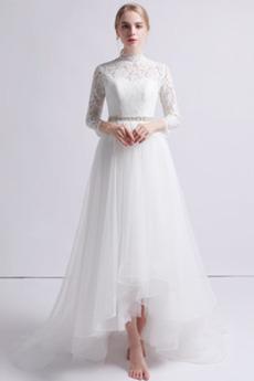Robe de mariée Asymétrique Été De plein air Haute Couvert Perler