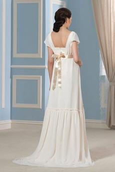 Robe de mariée Manche Courte Orné de Rosette Jardin Chiffon Manche de T-shirt