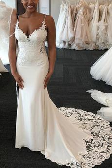 Robe de mariée Sirène Col en V Foncé Naturel taille Longue Décalcomanie