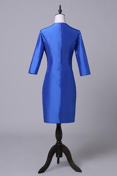 Robe mères Bleu Fer à cheval Fleurs Maigre Formelle Taffetas