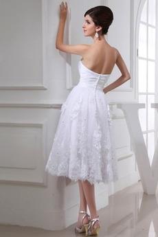 Robe de mariée Sans Manches Longueur de genou De plein air Perle