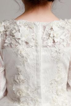 Robe de fille de fleur A-ligne Petit collier circulaire Manche Longue