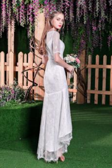 Robe de mariée Sirène Elégant Couvert de Dentelle Manche Courte