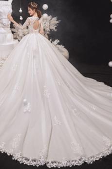 Robe de mariée Manche de T-shirt Col en V Couvert de Dentelle