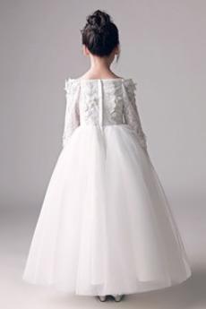 Robe de fille de fleur Longueur Cheville Appliquer A-ligne Naturel taille