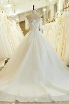 Robe de mariée Naturel taille Laçage Couvert de Dentelle Salle des fêtes