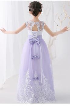 Robe de fille de fleur Dentelle Automne Naturel taille Corsage Avec Bijoux