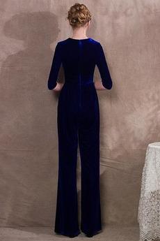 Robe de soirée fin 3/4 Manche Elégant Poches Un Costume Naturel taille
