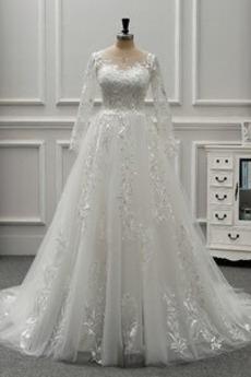 Robe de mariée Manche Longue Norme Salle Appliquer A-ligne Dos nu
