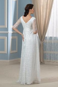 Robe de mariée Manche Aérienne Plissé Traîne Courte Plage Empire