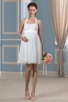 Robe de mariée Fourreau pli Mousseline Dos nu De plein air Maternité